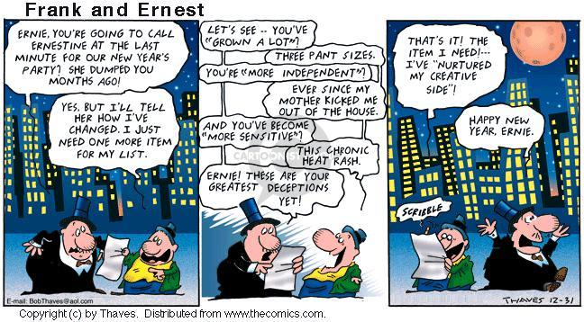 Comic Strip Bob Thaves Tom Thaves  Frank and Ernest 2000-12-31 festive