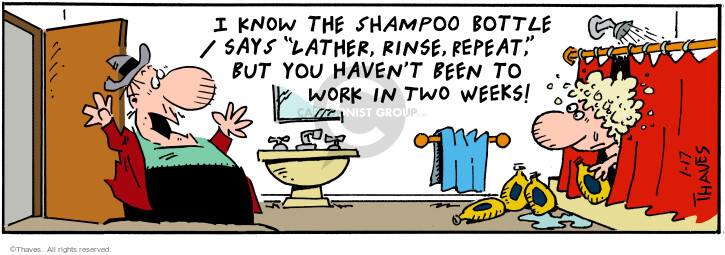 Comic Strip Bob Thaves Tom Thaves  Frank and Ernest 2001-01-17 shower