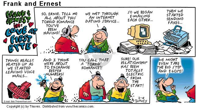 Comic Strip Bob Thaves Tom Thaves  Frank and Ernest 2001-02-04 telephone