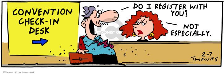 Comic Strip Bob Thaves Tom Thaves  Frank and Ernest 2001-02-07 desk