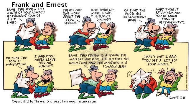 Comic Strip Bob Thaves Tom Thaves  Frank and Ernest 2001-02-25 insult