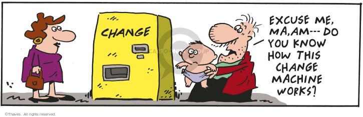 Cartoonist Bob Thaves Tom Thaves  Frank and Ernest 2001-03-12 change diaper