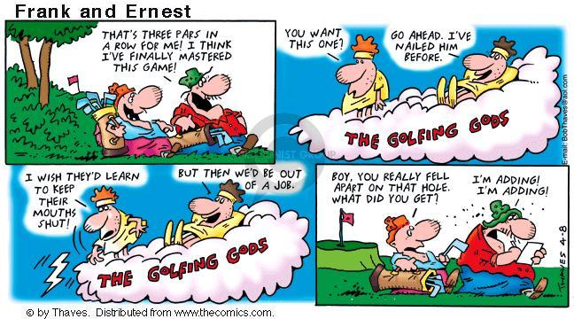 Comic Strip Bob Thaves Tom Thaves  Frank and Ernest 2001-04-08 sports score