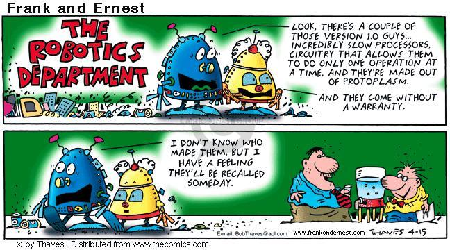 Comic Strip Bob Thaves Tom Thaves  Frank and Ernest 2001-04-15 computer
