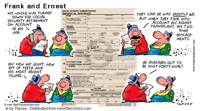 Comic Strip Bob Thaves Tom Thaves  Frank and Ernest 2001-04-29 social security