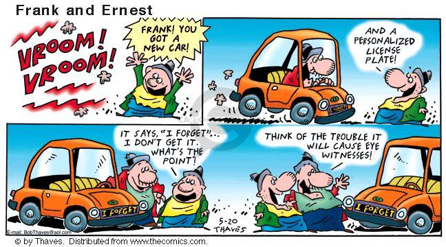 Comic Strip Bob Thaves Tom Thaves  Frank and Ernest 2001-05-20 new car