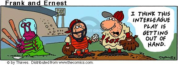 Comic Strip Bob Thaves Tom Thaves  Frank and Ernest 2001-05-29 baseball pitcher