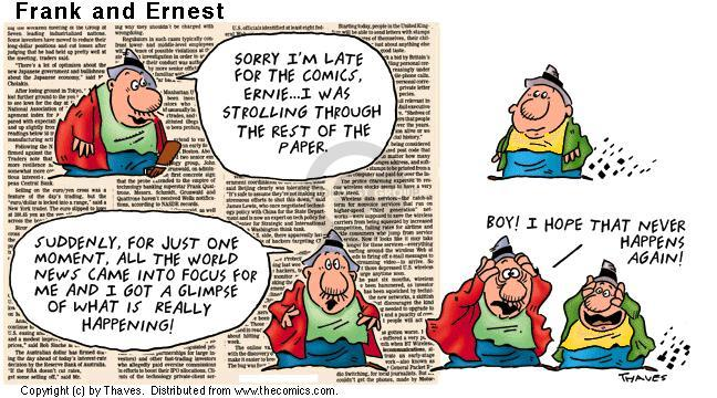 Cartoonist Bob Thaves Tom Thaves  Frank and Ernest 2001-06-10 news
