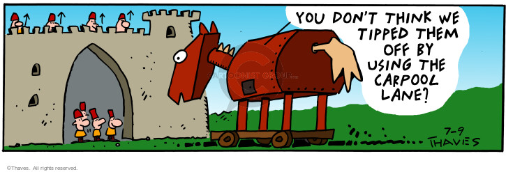 Comic Strip Bob Thaves Tom Thaves  Frank and Ernest 2001-07-09 Trojan horse
