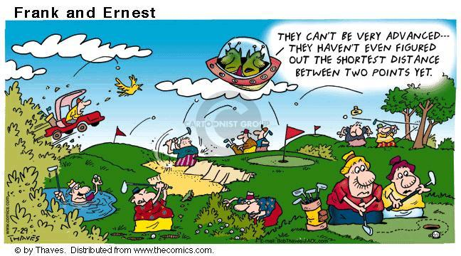 Comic Strip Bob Thaves Tom Thaves  Frank and Ernest 2001-07-29 golf hole