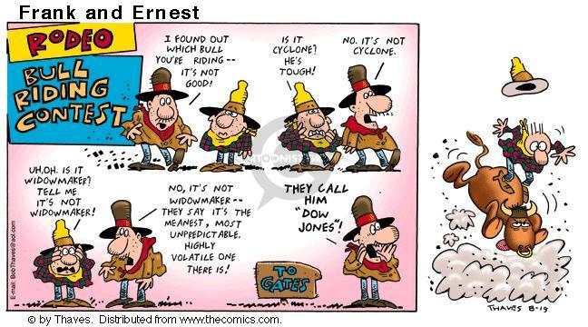 Comic Strip Bob Thaves Tom Thaves  Frank and Ernest 2001-08-19 Dow Jones