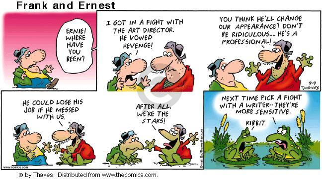 Comic Strip Bob Thaves Tom Thaves  Frank and Ernest 2001-09-09 frog