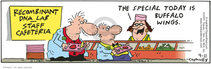 Cartoonist Bob Thaves Tom Thaves  Frank and Ernest 2001-09-11 waitress