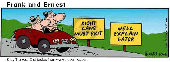 Comic Strip Bob Thaves Tom Thaves  Frank and Ernest 2001-10-06 road sign