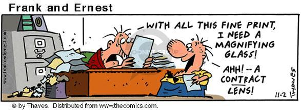 Comic Strip Bob Thaves Tom Thaves  Frank and Ernest 2001-11-02 contract