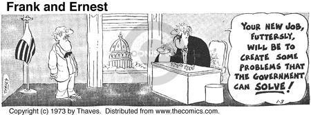 Comic Strip Bob Thaves Tom Thaves  Frank and Ernest 1973-01-03 solve