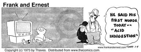 Comic Strip Bob Thaves Tom Thaves  Frank and Ernest 1973-01-04 den