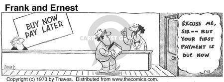 Comic Strip Bob Thaves Tom Thaves  Frank and Ernest 1973-05-16 salesman