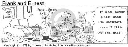 Comic Strip Bob Thaves Tom Thaves  Frank and Ernest 1973-11-08 car repair shop