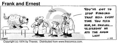 Cartoonist Bob Thaves Tom Thaves  Frank and Ernest 1974-01-28 stop
