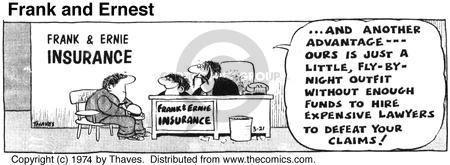 Comic Strip Bob Thaves Tom Thaves  Frank and Ernest 1974-03-21 insurance policy