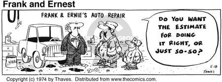 Comic Strip Bob Thaves Tom Thaves  Frank and Ernest 1974-05-18 car repair shop