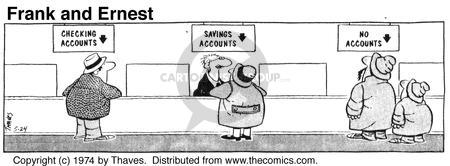 Comic Strip Bob Thaves Tom Thaves  Frank and Ernest 1974-05-24 bank account