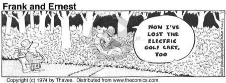 Comic Strip Bob Thaves Tom Thaves  Frank and Ernest 1974-08-09 golf cart