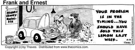 Comic Strip Bob Thaves Tom Thaves  Frank and Ernest 1974-08-29 car repair shop
