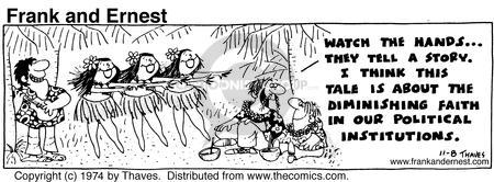 Cartoonist Bob Thaves Tom Thaves  Frank and Ernest 1974-11-08 message