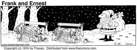 Comic Strip Bob Thaves Tom Thaves  Frank and Ernest 1974-12-24 charity