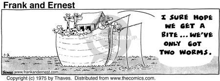 Comic Strip Bob Thaves Tom Thaves  Frank and Ernest 1975-01-02 fishing boat