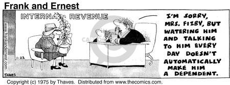 Comic Strip Bob Thaves Tom Thaves  Frank and Ernest 1975-01-22 tax liability
