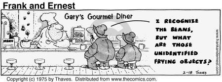 Comic Strip Bob Thaves Tom Thaves  Frank and Ernest 1975-02-18 gourmet cooking