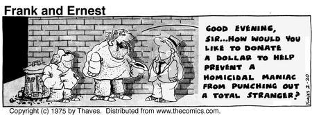 Comic Strip Bob Thaves Tom Thaves  Frank and Ernest 1975-02-20 alley
