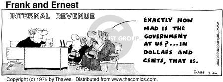 Comic Strip Bob Thaves Tom Thaves  Frank and Ernest 1975-03-26 tax audit