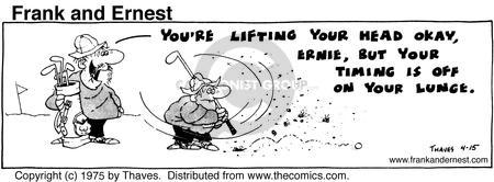 Comic Strip Bob Thaves Tom Thaves  Frank and Ernest 1975-04-15 golf swing