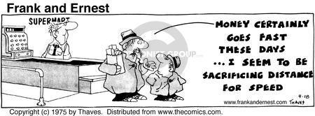 Cartoonist Bob Thaves Tom Thaves  Frank and Ernest 1975-04-18 supermarket