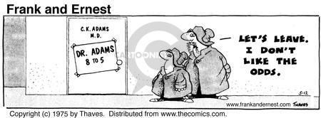 Comic Strip Bob Thaves Tom Thaves  Frank and Ernest 1975-05-12 sign