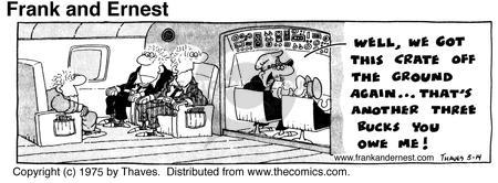 Comic Strip Bob Thaves Tom Thaves  Frank and Ernest 1975-05-14 airplane travel