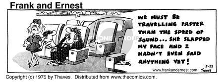 Comic Strip Bob Thaves Tom Thaves  Frank and Ernest 1975-05-23 airplane travel