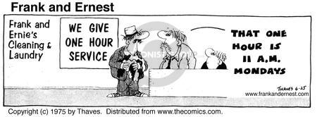 Comic Strip Bob Thaves Tom Thaves  Frank and Ernest 1975-06-25 sign