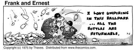 Comic Strip Bob Thaves Tom Thaves  Frank and Ernest 1975-07-03 baseball
