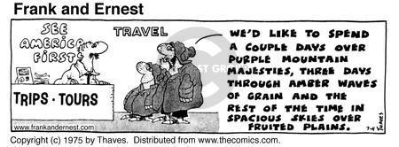 Comic Strip Bob Thaves Tom Thaves  Frank and Ernest 1975-07-04 time traveler