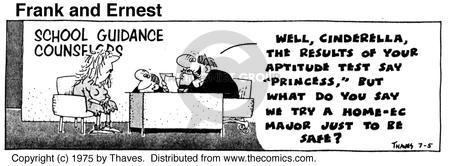 Comic Strip Bob Thaves Tom Thaves  Frank and Ernest 1975-07-05 aptitude test