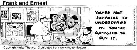 Comic Strip Bob Thaves Tom Thaves  Frank and Ernest 1975-07-24 modern art museum