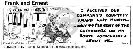 Comic Strip Bob Thaves Tom Thaves  Frank and Ernest 1975-08-06 bus driver