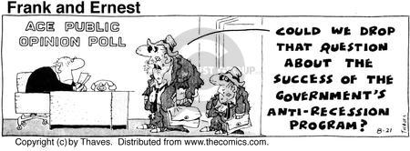 Cartoonist Bob Thaves Tom Thaves  Frank and Ernest 1975-08-21 economy