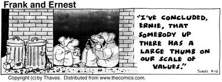 Comic Strip Bob Thaves Tom Thaves  Frank and Ernest 1975-09-12 behave
