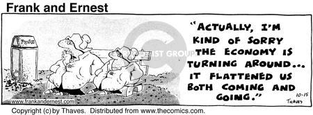 Cartoonist Bob Thaves Tom Thaves  Frank and Ernest 1975-10-15 economy